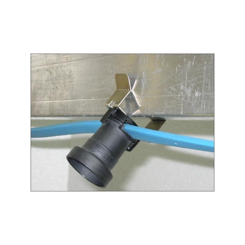 Câble plat avec terre et clips inox inclinables + douille/50cm