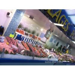 éclairage étalage poissonnerie sur marché forain